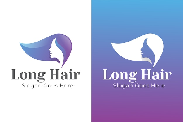 Gradient beauty woman long hair logo design