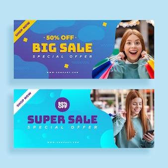 Grandi banner di vendita sfumati con foto