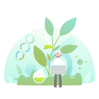 Gradient biotechnology concept with researcher