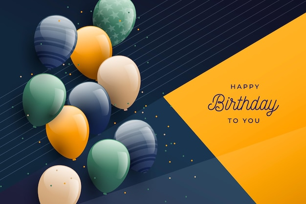 Gradient birthday background with balloons