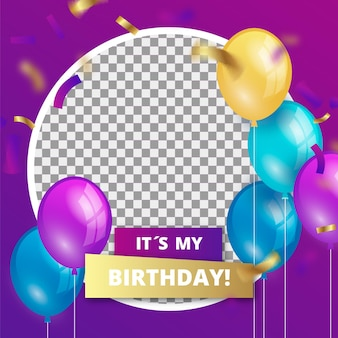 Gradient birthday facebook frame for profile pic