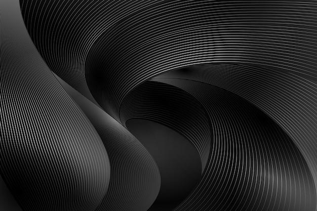 Градиент черный фон с волнистыми линиями