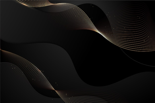 Gradient black background with wavy lines