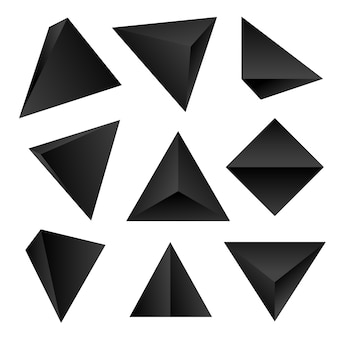 Gradient black color various angles tetrahedrons decoration shapes collection  white background