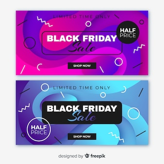 Gradient black friday banners and memphis style