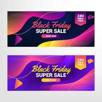 Gradient black friday banners set
