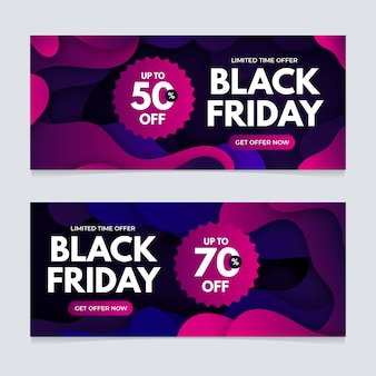 Gradient black friday banners template