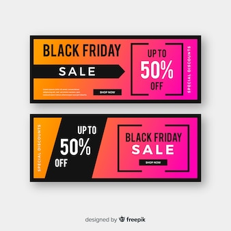 Gradient black friday group of banners