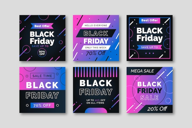 Gradient black friday instagram post collection