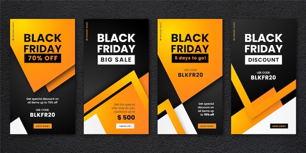 Gradient black friday instagram stories set