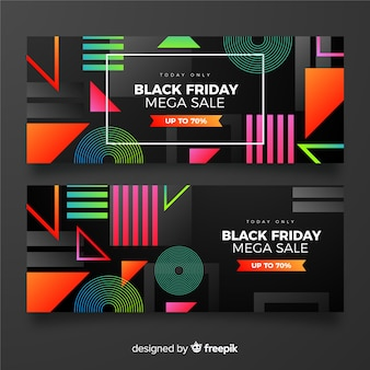 Gradient black friday pack of banners