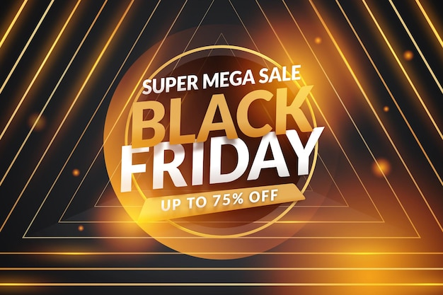 Gradient black friday sale banner with bokeh gold effect