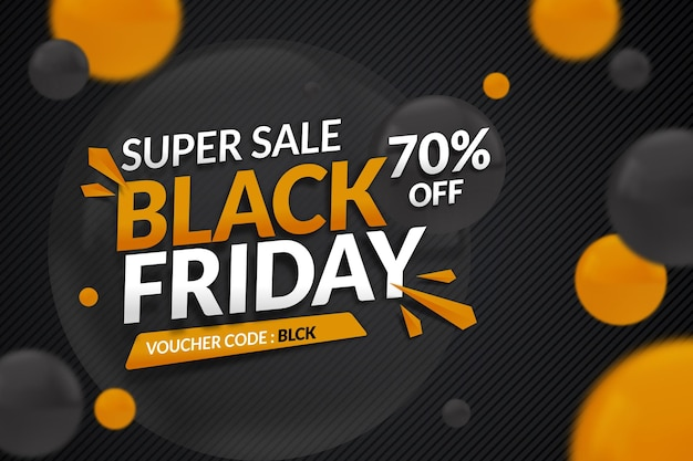 Gradient black friday sale banner with gold effect