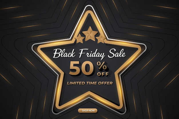 Gradient black friday sale banner with star shape gold effect