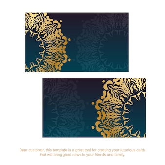 Gradient blue business card with luxurious gold ornaments for your contacts.