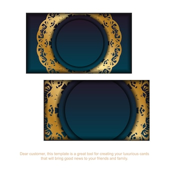 Gradient blue business card with mandala gold ornament for your business.