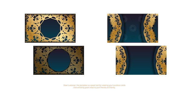 Gradient blue business card with vintage gold ornaments for your business.