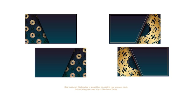 Gradient blue business card with vintage gold pattern for your brand.