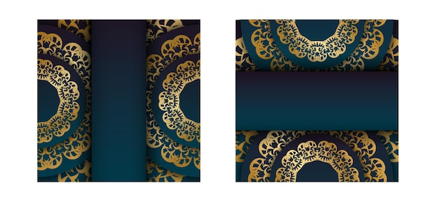 Gradient blue gradient flyer template with greek gold ornament ready for print.