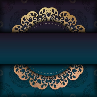 Gradient blue gradient flyer template with indian gold pattern prepared for typography.