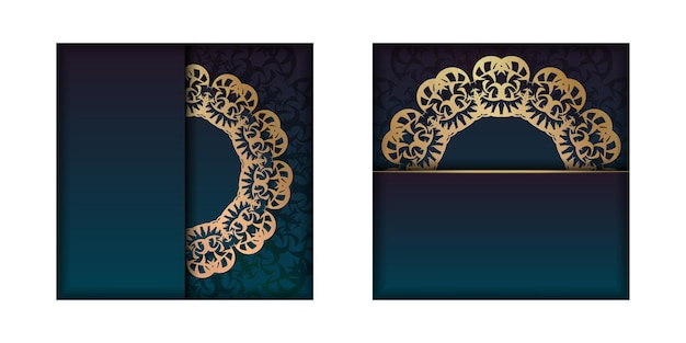 Gradient blue gradient greeting card template with vintage gold ornament prepared for typography.
