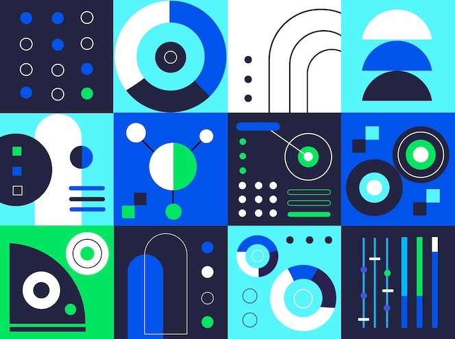 Gradient blue and green geometric elements