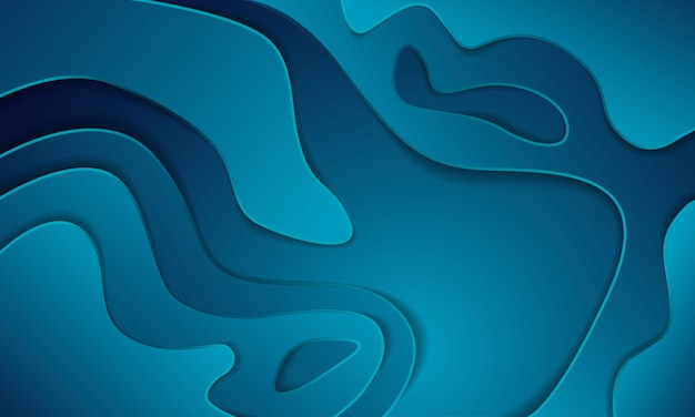 Gradient blue paper cut abstract background