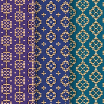 Gradient blue songket pattern collection