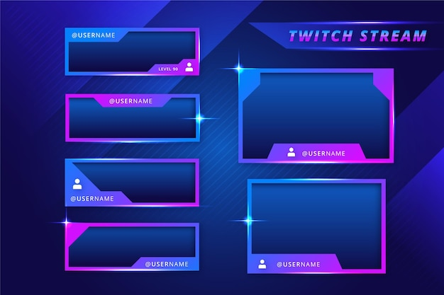 Gradient blue and violet twitch stream panels