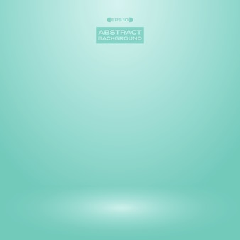 Gradient of blur turquoise green mint color background studio.