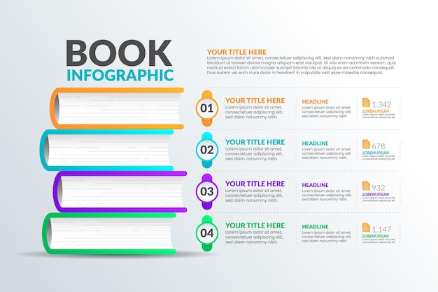 Gradient book infographics design