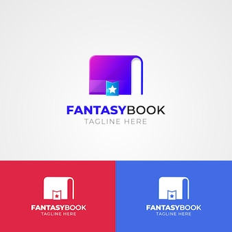 Gradient book logo on different colors