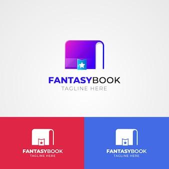 さまざまな色のグラデーションの本のロゴ