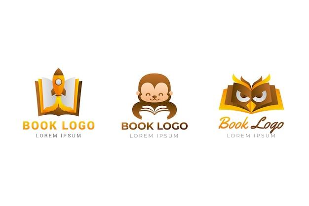 Modello di logo del libro sfumato nei toni del marrone