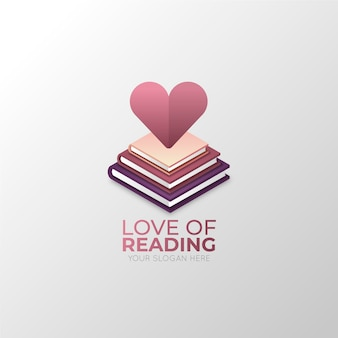 Gradient book logo with heart shape
