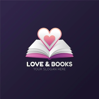 Gradient book logo with open book