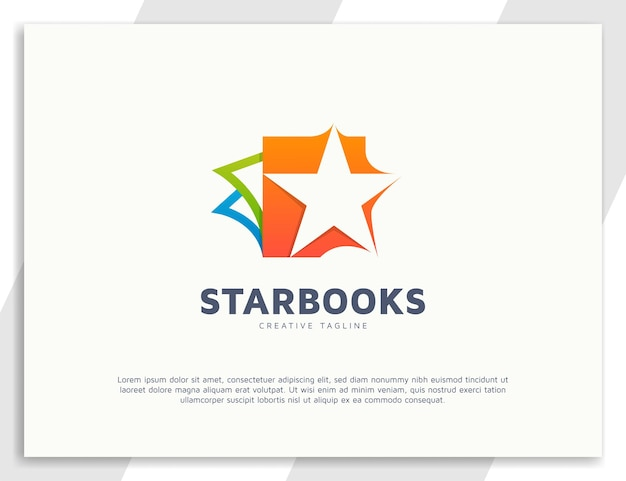 星のデザインのグラデーションの本のロゴ