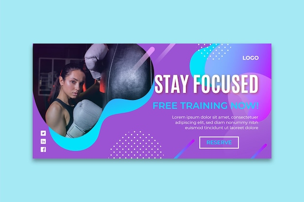 Gradient boxing banner template