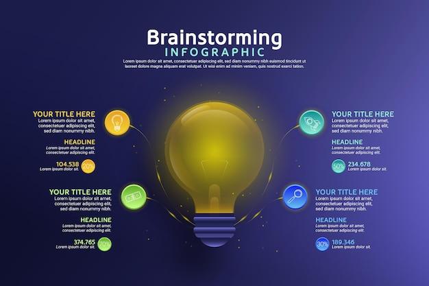 グラデーションブレーンストーミングインフォグラフィックデザイン