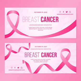 Gradient breast cancer awareness month horizontal banners set