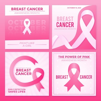 Gradient breast cancer awareness month instagram posts collection