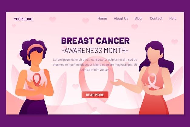 그라데이션 유방암 인식의 달 방문 페이지 템플릿
