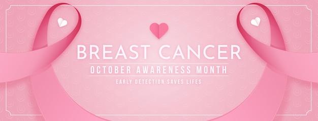Modello di copertina dei social media del mese di sensibilizzazione sul cancro al seno sfumato
