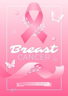 그라데이션 유방암 인식의 달 수직 전단지 템플릿