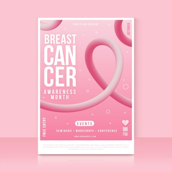 Gradient breast cancer awareness month vertical flyer template