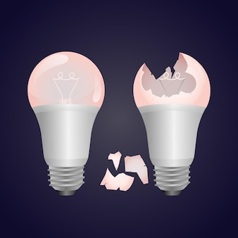 Gradient broken light bulb