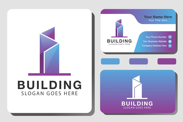 Gradient building architecture logo, apartment, real estate, construction, property logo design with identity