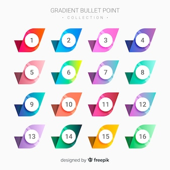 Gradient bullet point collection