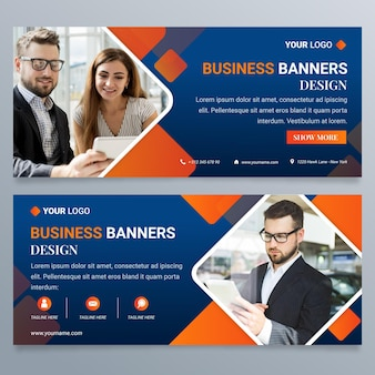 Gradient business banners design template