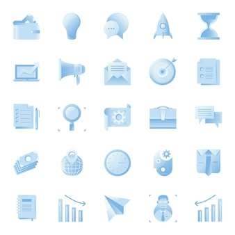 Gradient business icon collection